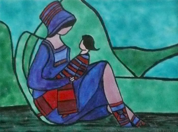 Jeune fille et sa poupée