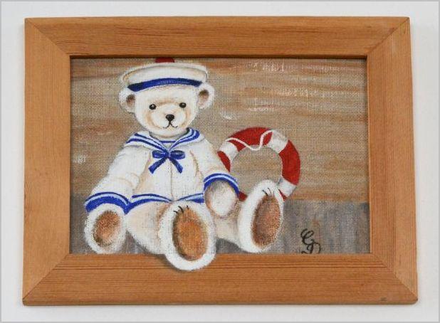 Peinture sur lin : Ourson matelot