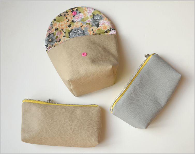 Couture : Pochettes en skaï à fermeture ou à rabat