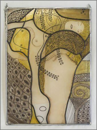 Tableau : technique Tiffany avec grisaille et jaune à l'argent