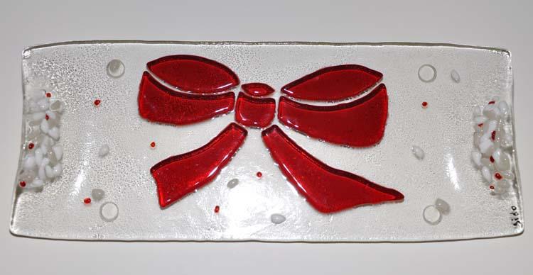 Plat à cake noeud festif